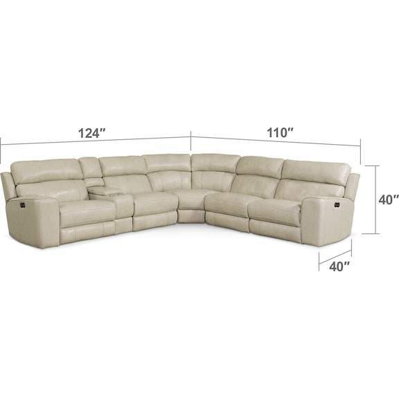 Living Room Furniture - Newport 6-Piece Dual-Power Reclining Sectional with 3 Reclining Seats