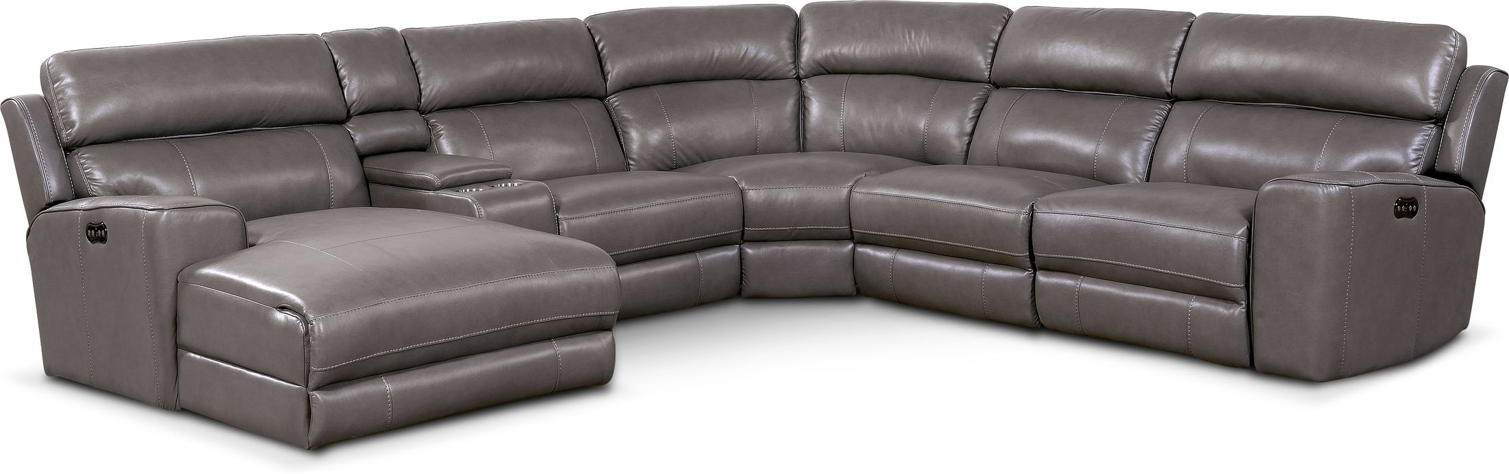 Living Room Furniture - Newport 6-Piece Dual-Power Reclining Sectional with Chaise and 2 Reclining Seats