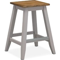 oak and gray counter height stool