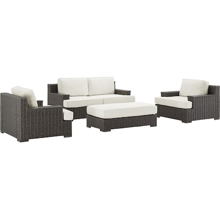 Oceanside Outdoor Loveseat, 2 Armchairs, and Ottoman Set - Brown