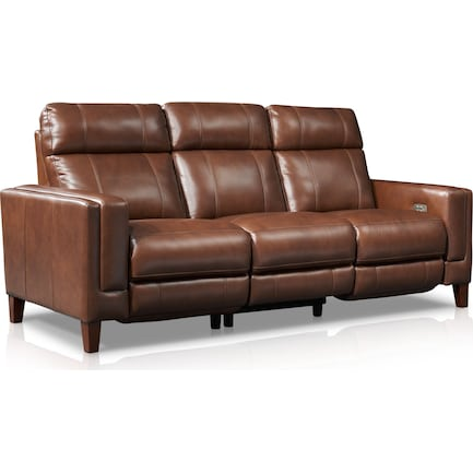 Oliver Dual-Power Reclining Sofa - Brown