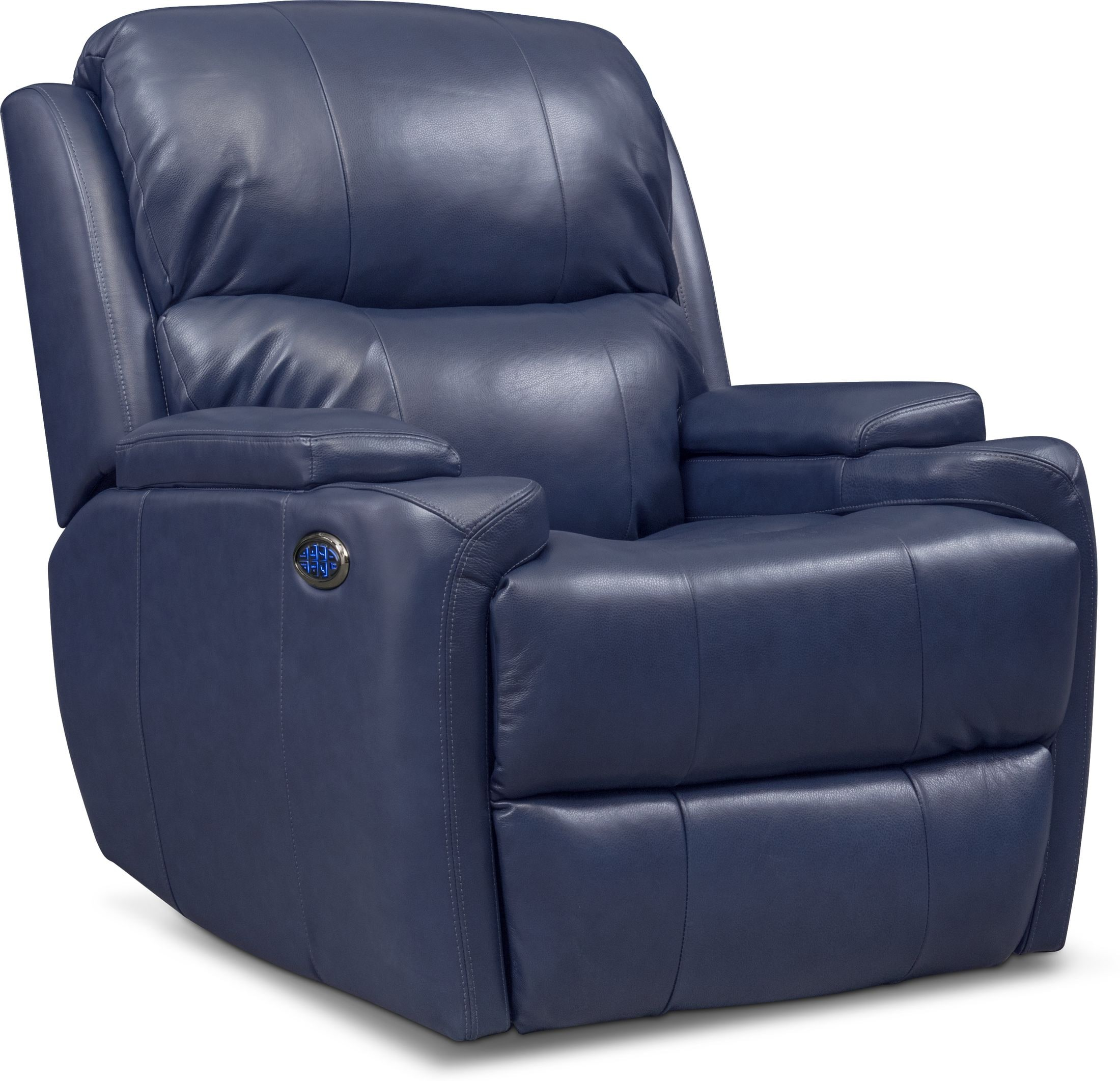 Living Room Furniture - Omega Triple-Power Leather Recliner