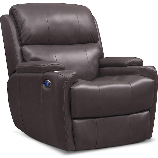 Living Room Furniture - Omega Triple-Power Leather Recliner
