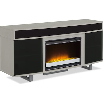 """Pacer 64"""" Contemporary Fireplace TV Stand with Sound Bar - Gray"""
