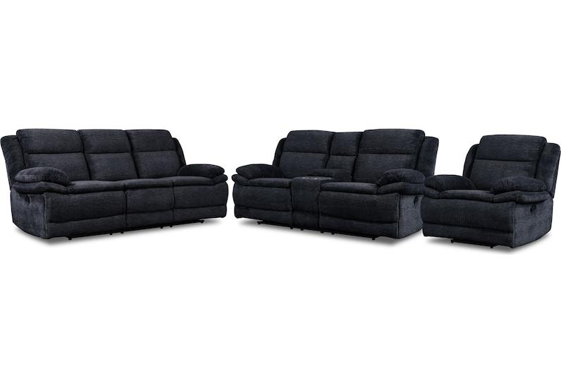pacific black  pc manual reclining living room