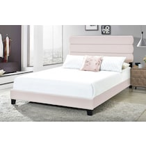 pearl pink king upholstered bed