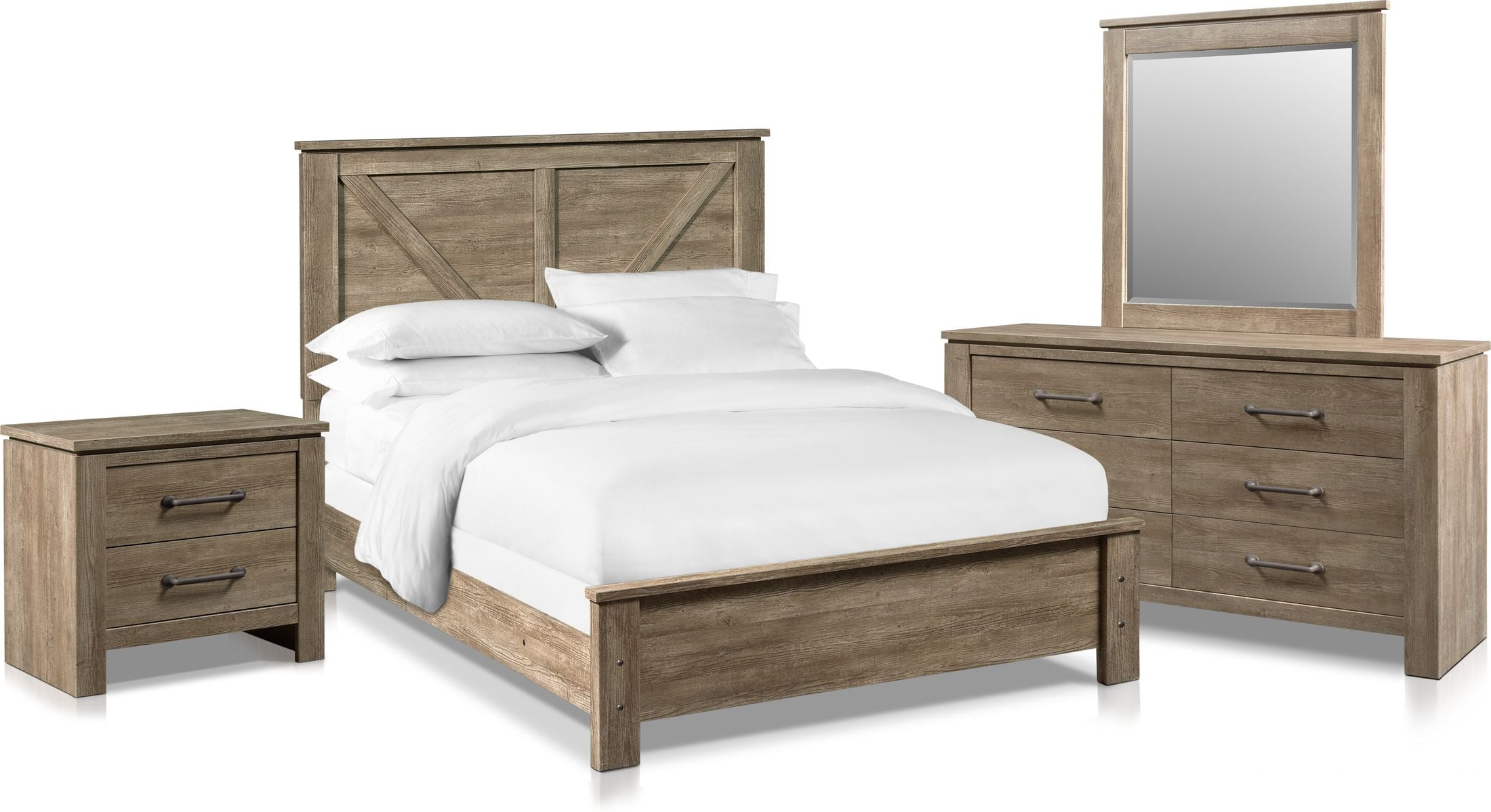 Bedroom Furniture - Perry 6-Piece Bedroom Set with Nightstand, Dresser and Mirror