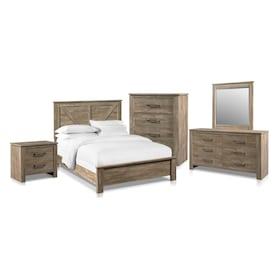 Perry 7-Piece Bedroom Set with Nightstand, Chest, Dresser and Mirror