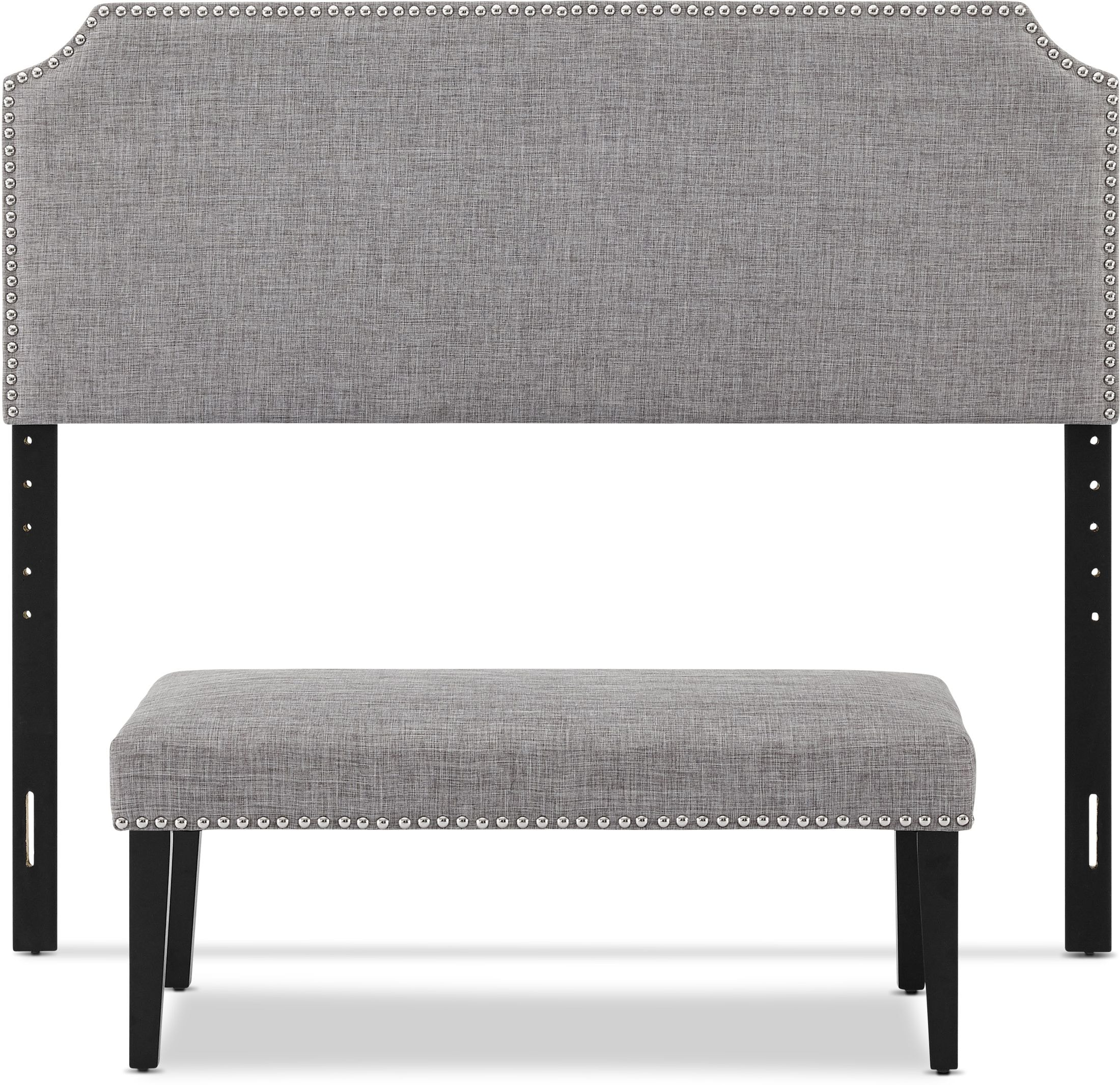 Bedroom Furniture - Piper Queen Upholstered Headboard and Bench Set