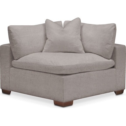 Plush Feathered Comfort Corner Chair- in Curious Silver Pine