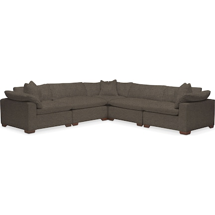 Plush Feathered Comfort Feathered Comfort 5-Piece Sectional - Laurent Charcoal
