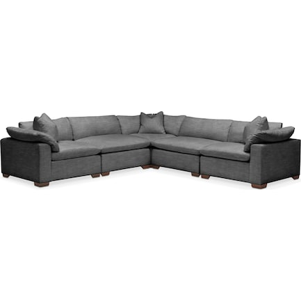 Plush Feathered Comfort 5 Pc. Sectional- in Curious Charcoal