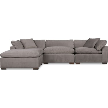 Plush 3-Piece Sofa and Ottoman - Gray