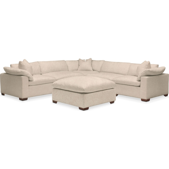 Living Room Furniture - Plush Performance 5-Piece Sectional with Ottoman - Halifax Shell