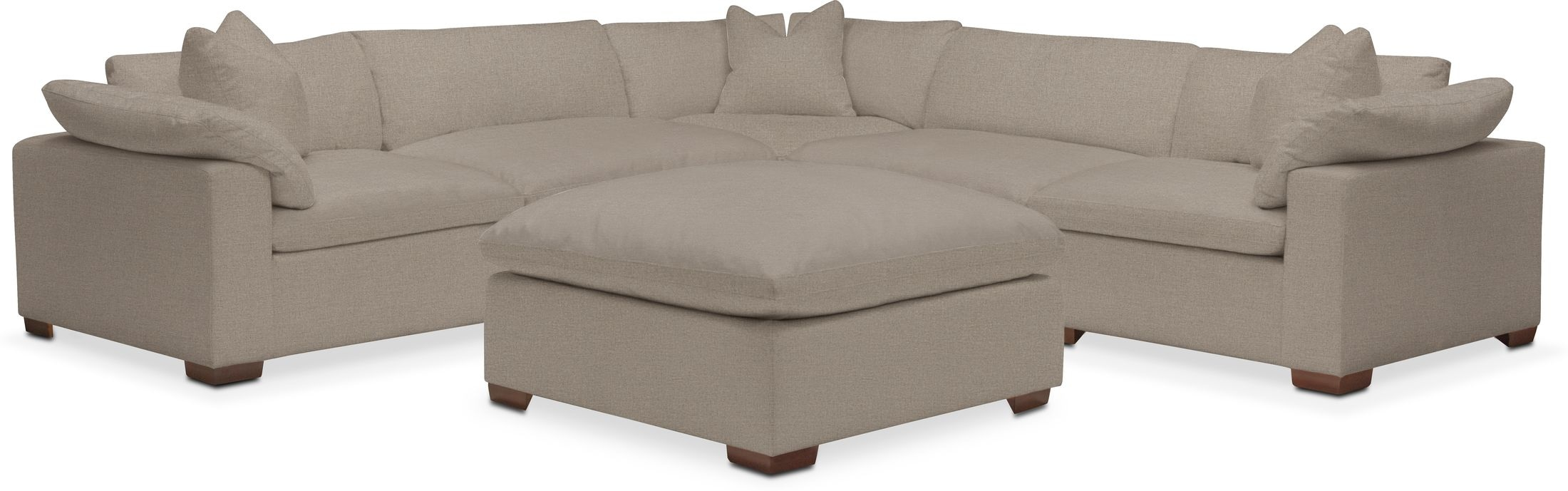 Living Room Furniture - Plush Performance 5-Piece Sectional with Ottoman