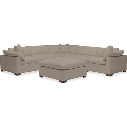 Plush Feathered Comfort Performance Fabric 5-Piece Sectional with Ottoman - Benavento Dove