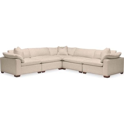 Plush Feathered Comfort Performance Fabric 5-Piece Sectional - Halifax Shell