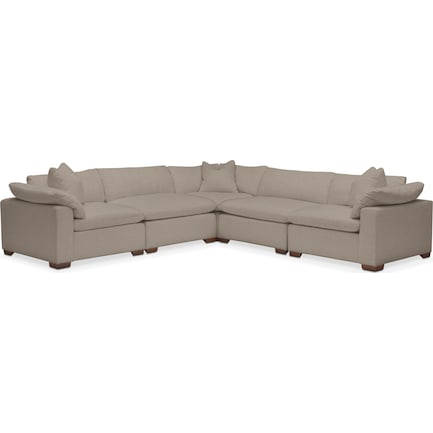 Plush Feathered Comfort 5-Piece Performance Fabric Sectional - Benavento Dove
