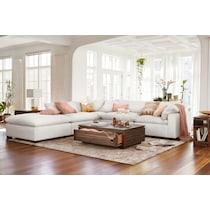 plush white armless chair