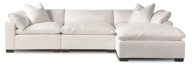 Living Room Furniture - Plush 3-Piece Sofa and Ottoman