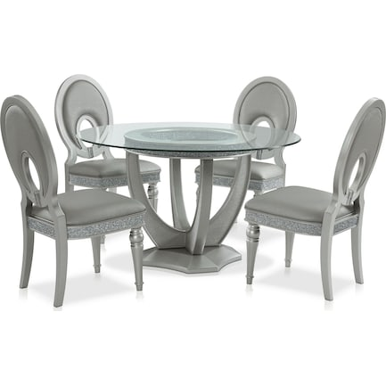 Posh Round Dining Table And 4, Round Dining Room Sets