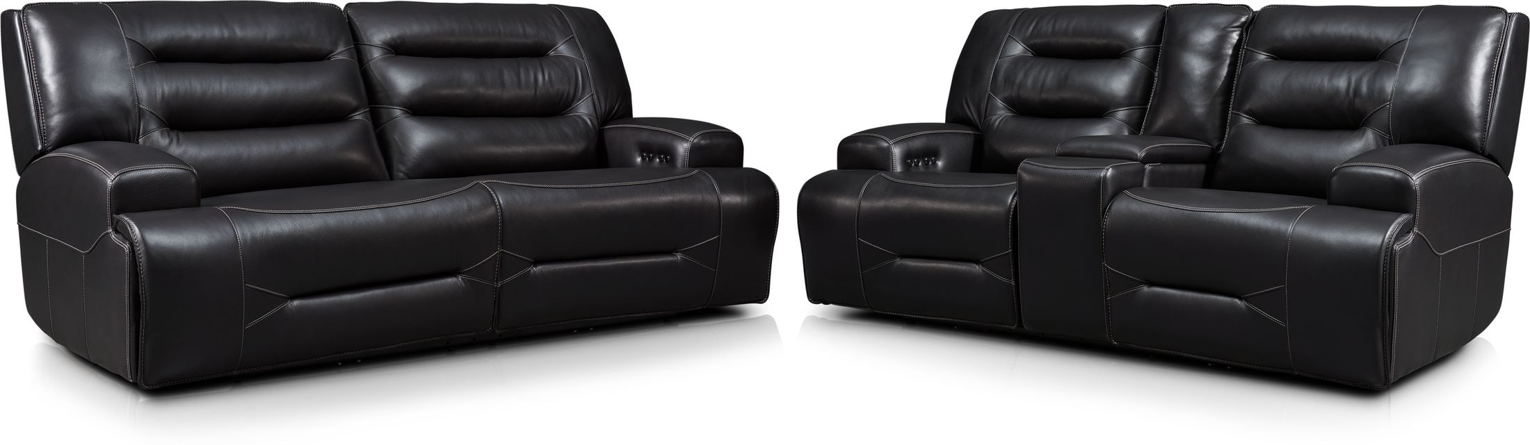 Living Room Furniture - Preston Dual-Power Reclining Sofa and Loveseat Set - Black