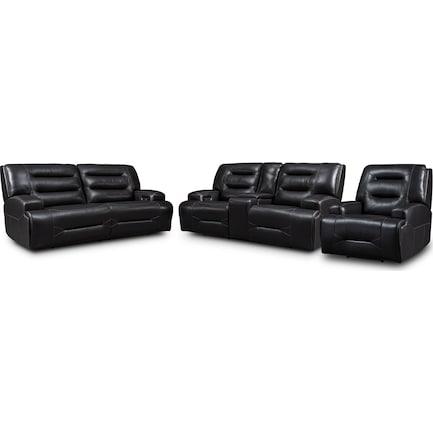 Preston Dual-Power Reclining Sofa, Loveseat and Recliner - Black