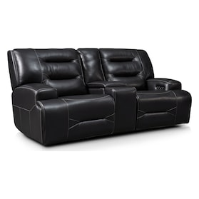 Preston Dual-Power Reclining Loveseat - Black