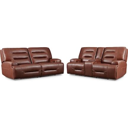 Preston Dual-Power Reclining Sofa and Loveseat Set - Caramel