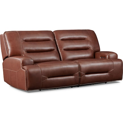 Preston Dual-Power Reclining Sofa - Caramel