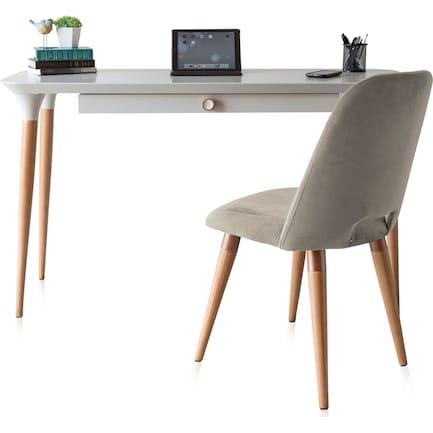 Princeton Desk and Geni Chair - Off-White/Beige