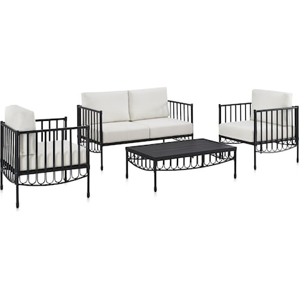 Redondo Outdoor Loveseat, 2 Armchairs, and Coffee Table Set - Black