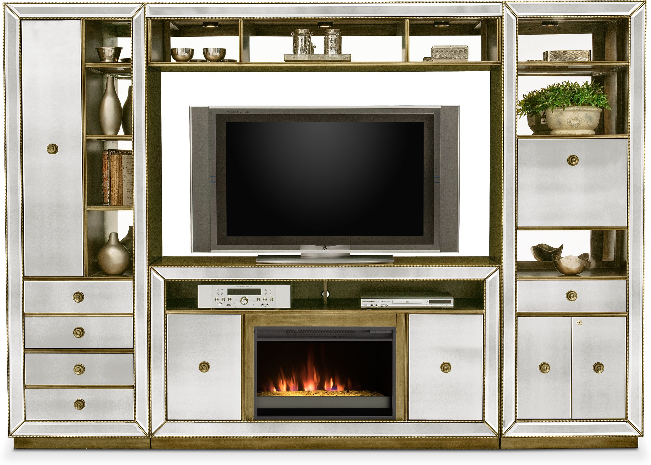 Entertainment Furniture - Reflection 4-Piece Entertainment Center with Fireplace