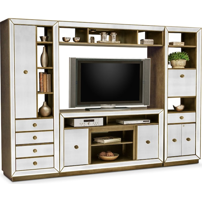Entertainment Furniture - Reflection 4-Piece Entertainment Center