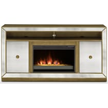 reflection entertainment mirrored fireplace tv stand