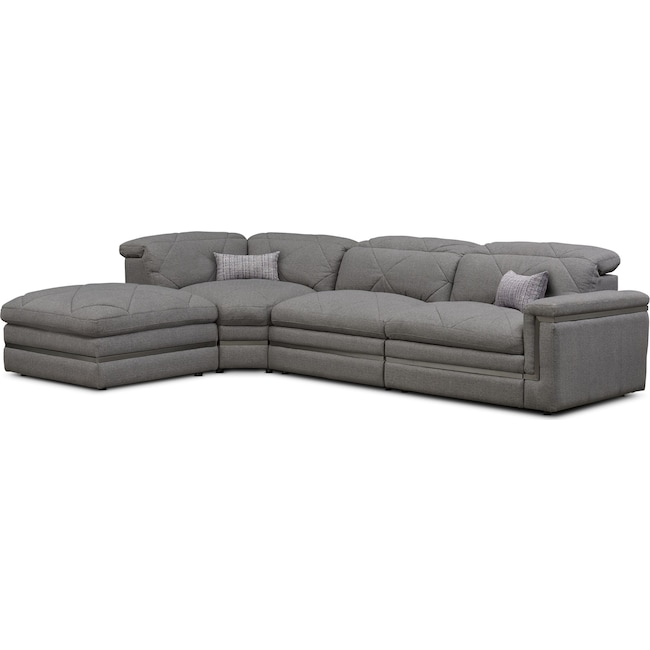 Living Room Furniture - Revel 3-Piece Dual-Power Reclining Sectional with Ottoman and 2 Reclining Seats