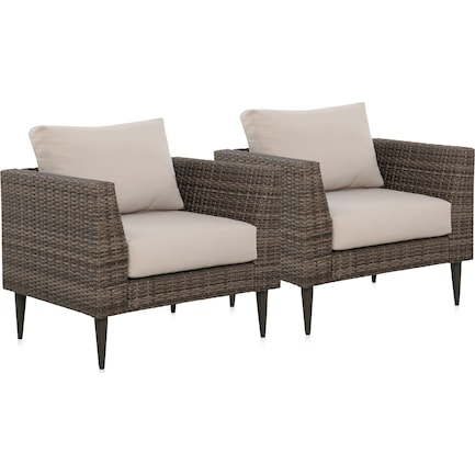Reyes Set of 2 Armchairs - Gray