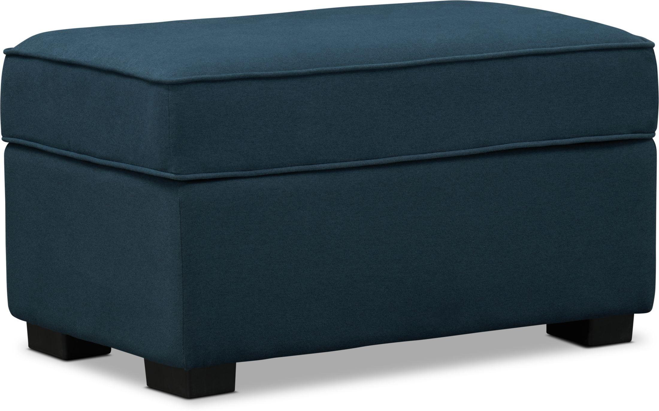 Living Room Furniture - Rhea Storage Ottoman - Navy