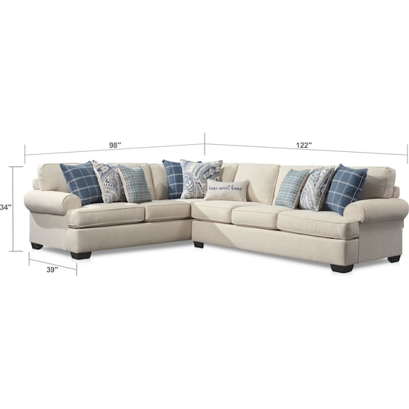 Living Room Furniture - Riley 2-Piece Large Sectional - Linen