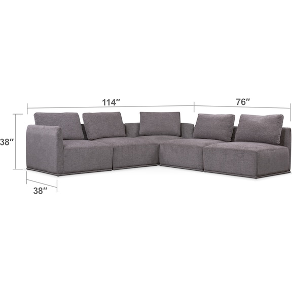 Living Room Furniture - Rio 5-Piece Sectional with 2 Corner Chairs