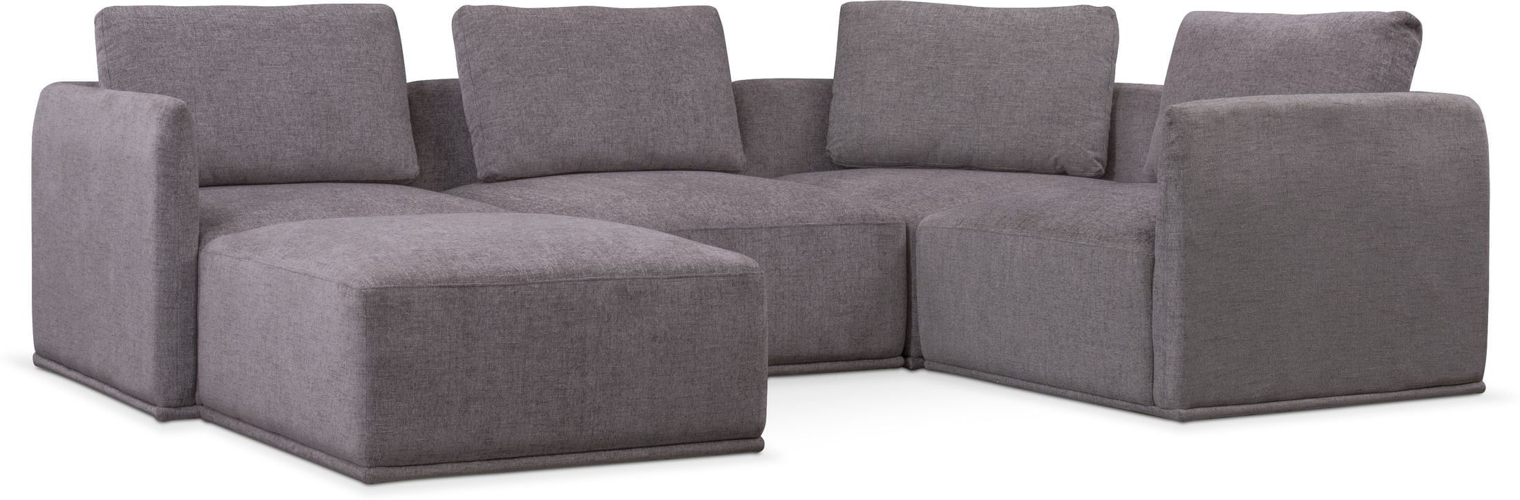 Living Room Furniture - Rio 5-Piece Sectional with 1 Armless Chair and Ottoman