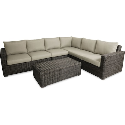 Riverside 4-Piece Outdoor Sectional and Coffee Table Set