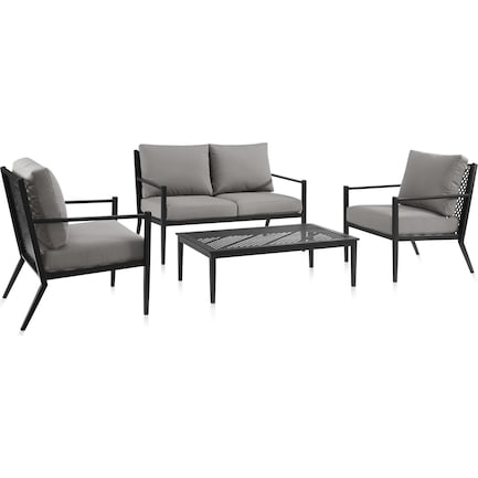 Rockaway Outdoor Loveseat, 2 Chairs and Coffee Table Set