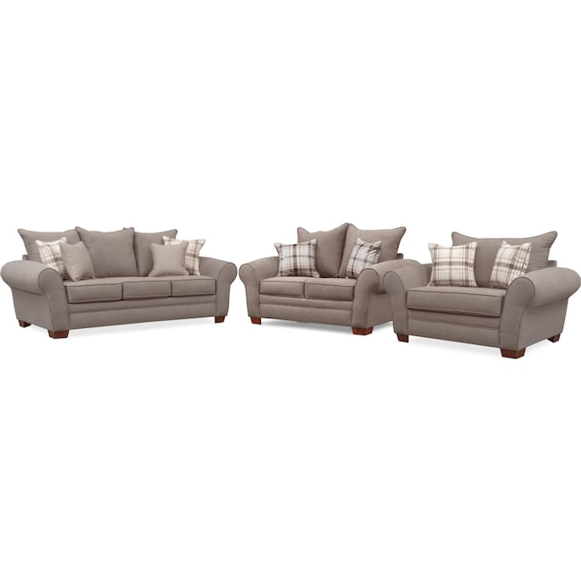 Living Room Furniture - Rowan Sofa, Loveseat and Chair and a Half