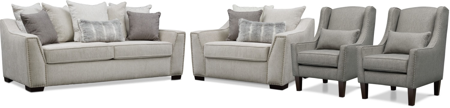 Living Room Furniture - Roxie Sofa, Chair and a Half, and 2 Accent Chairs