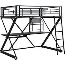 ryker black twin loft bed with desk