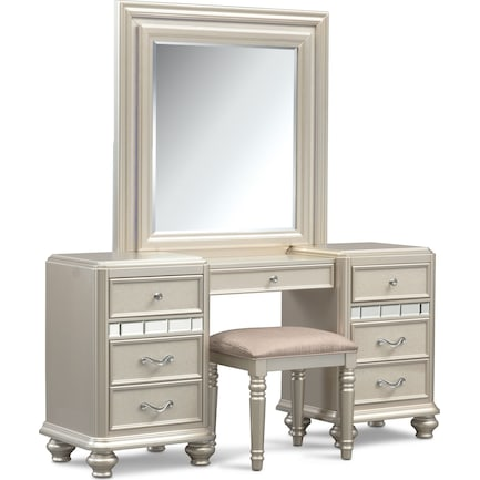 Sabrina Vanity, Mirror and Bench - Platinum