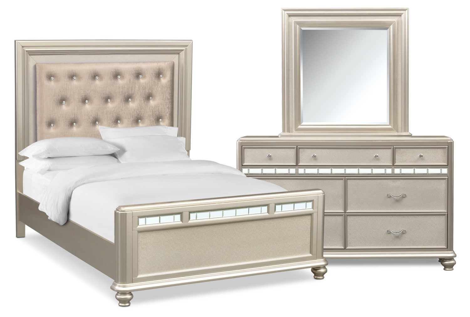 Bedroom Furniture - Sabrina 5-Piece Bedroom Set with Dresser and Mirror