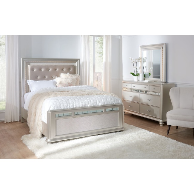 Sabrina 5 Piece Queen Bedroom Set With Dresser And Mirror American Signature Furniture