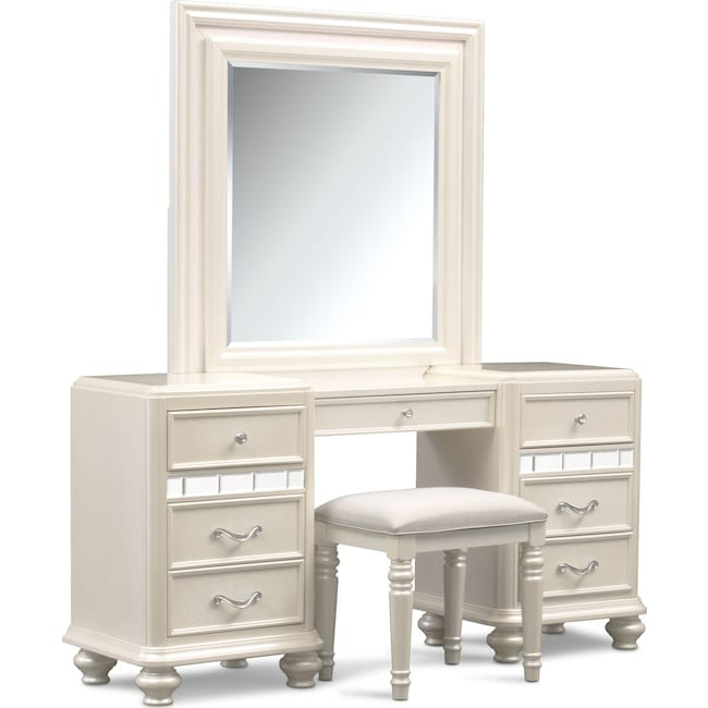 Accent and Occasional Furniture - Sabrina Vanity, Mirror and Bench